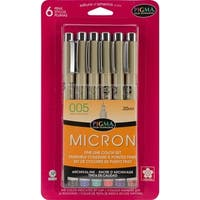 Micron Fine Lines 0.2 mm Pens (Pack of 6)