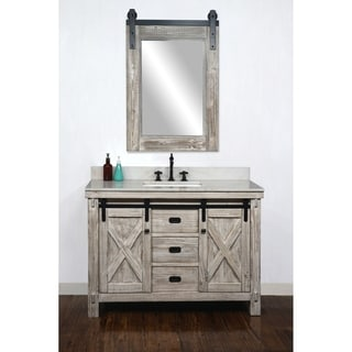"""49"""" Rustic Solid Fir Barn Door Style Single Sink White Wash Finish Vanity with Marble or Granite Top-No Faucet"""