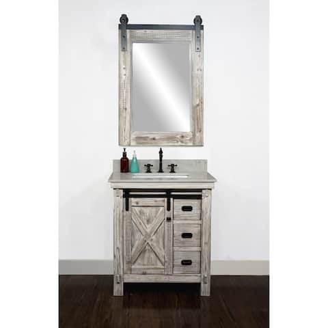 """31"""" Rustic Solid Fir Barn Door Style Single Sink White Wash Finish Vanity with Marble or Granite Top-No Faucet"""