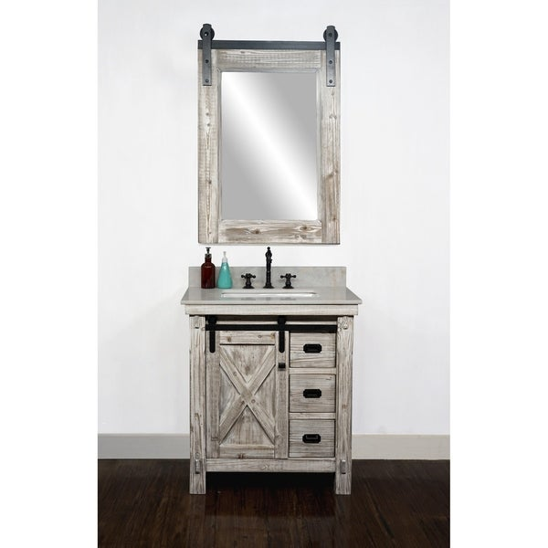 """31"""" Rustic Solid Fir Barn Door Style Single Sink White Wash Finish Vanity with Marble or Granite Top-No Faucet. Opens flyout."""