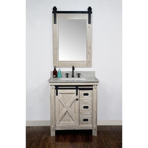 "31"" Rustic Solid Fir Barn Door Style Single Sink Vanity with Marble or Granite Tops-No Faucet"