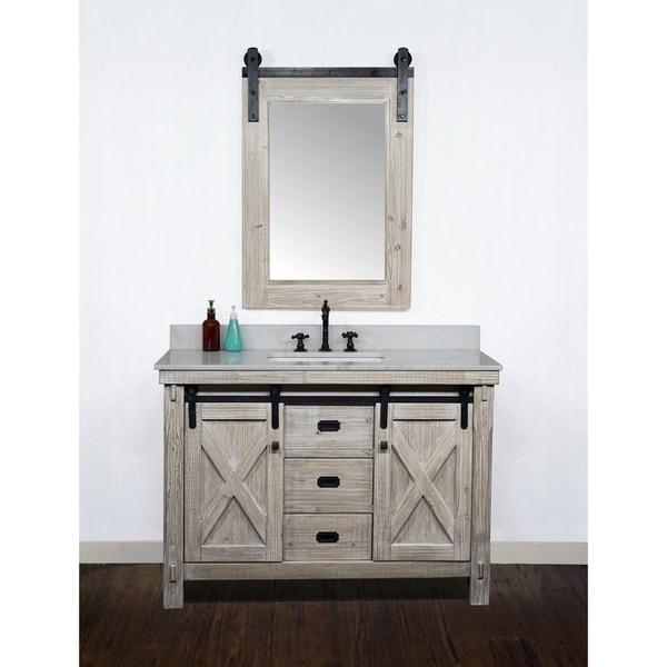 "49"" Rustic Solid Fir Barn Door Style Single Sink Vanity with Marble or Granite Tops-No Faucet"