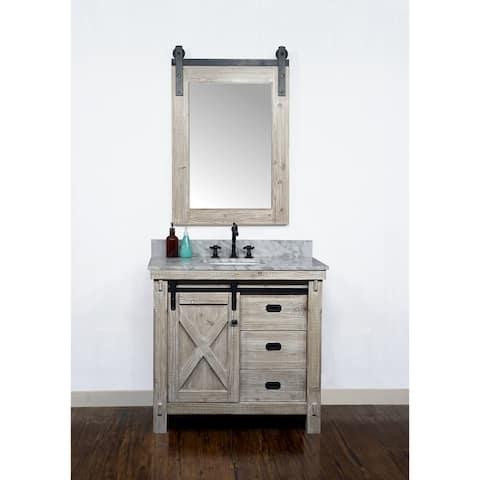 "37"" Rustic Solid Fir Barn Door Style Single Sink Vanity with Marble or Granite Tops-No Faucet"