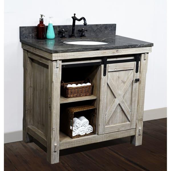 37 Rustic Solid Fir Barn Door Style Single Sink Vanity With Marble Or Granite Tops No Faucet Overstock 29882090