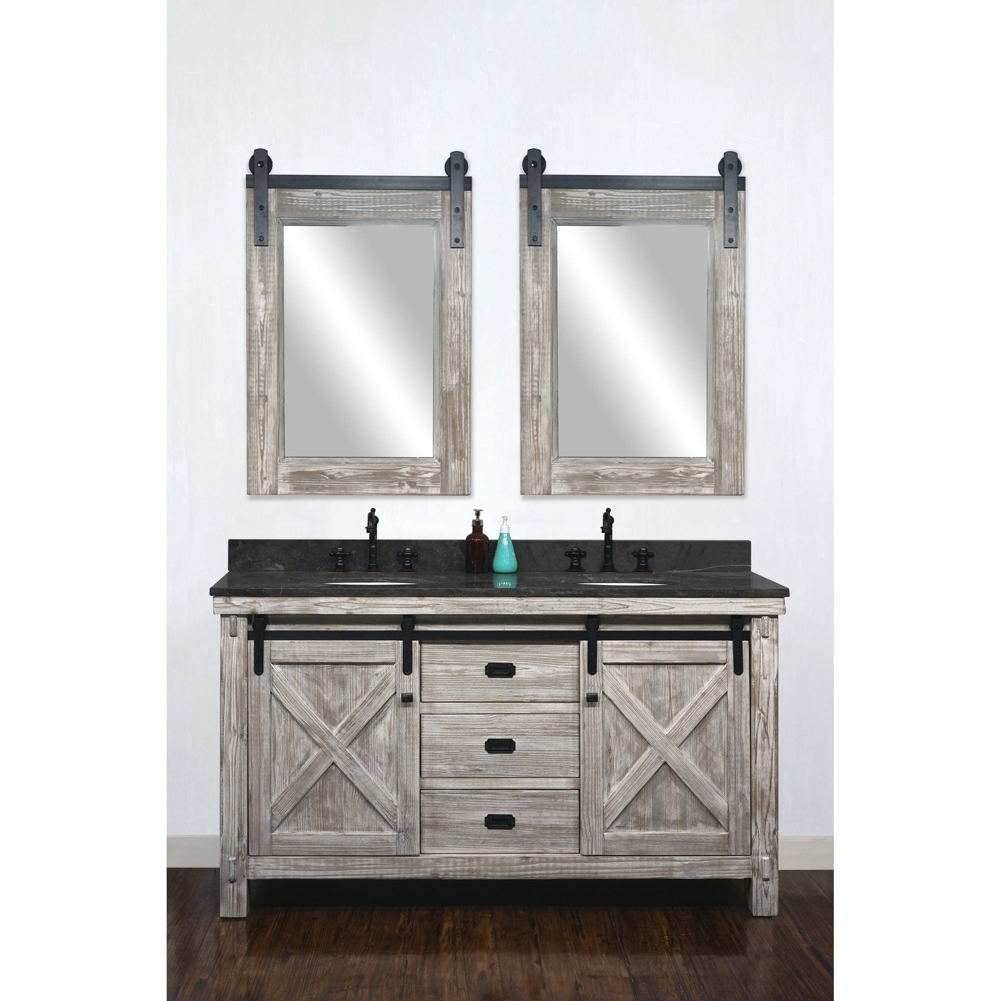 Shop Black Friday Deals On 61 Rustic Solid Fir Barn Door Style White Wash Finish Double Sink Vanites With Marble Or Granite Tops No Faucet Overstock 29882195