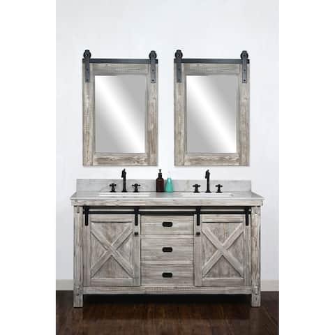 62-inch Rustic Solid Fir Barn Door Style Double Sink Vanity