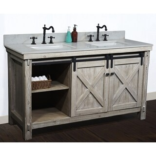 "61"" Rustic Solid Fir Barn Door Style Double Sink Vanites with Marble or Granite Tops-No Faucet"