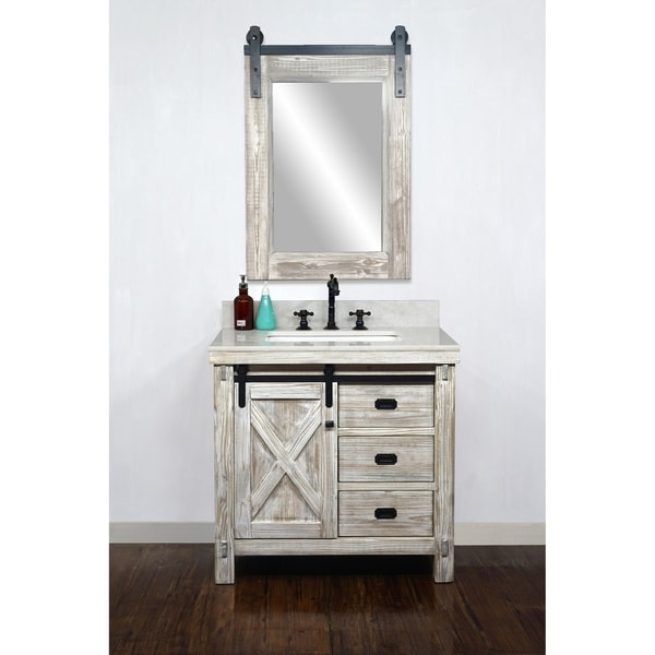 """37"""" Rustic Solid Fir Barn Door Style Single Sink White Wash Finish Vanity with Marble or Granite Top-No Faucet"""