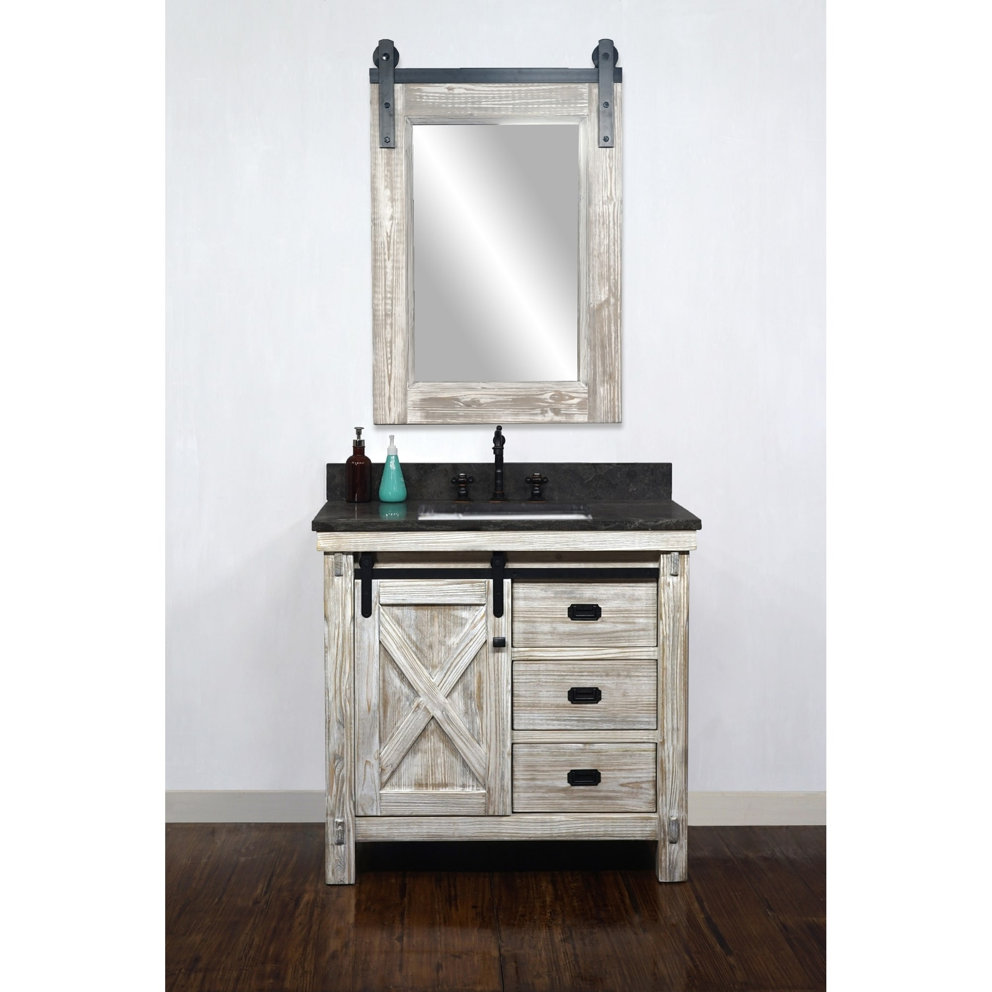 Shop Black Friday Deals On 37 Rustic Solid Fir Barn Door Style Single Sink White Wash Finish Vanity With Marble Or Granite Top No Faucet Overstock 29882552