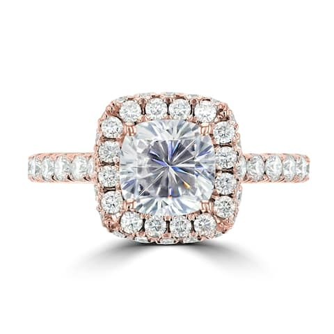 2.6ct TDW Dual Halo Cushion Moissanite Ring 14 Karat Rose Gold