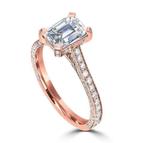 2.4ct TDW Emerald DEF Moissanite Engagement Ring 14 Karat Rose Gold