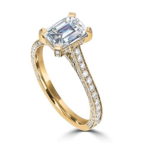 2.4ct TDW Emerald DEF Moissanite Engagement Ring 14 Karat Yellow Gold