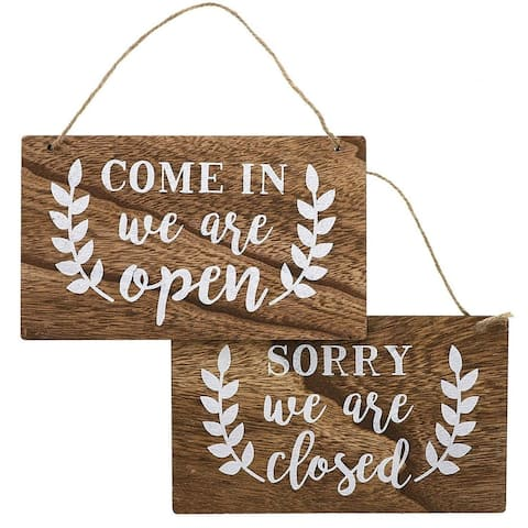 """Juvale 2-Piece Set Hanging Rustic Wood Open and Closed Business Signs, 10"""" x 6"""""""