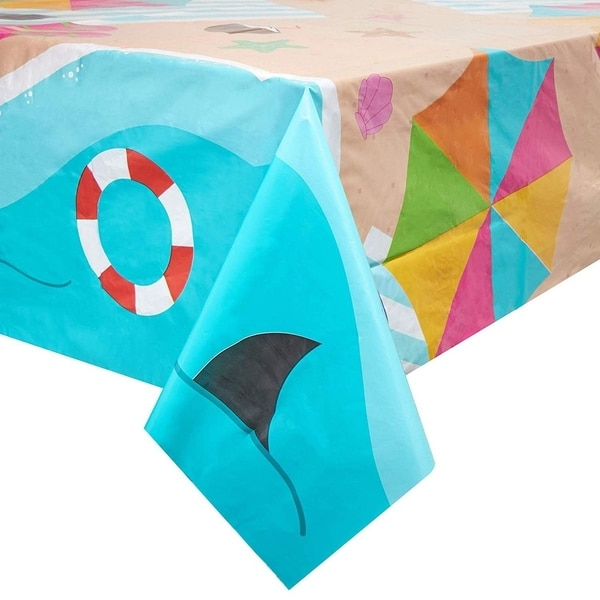 Juvale Summer Beach Scene Plastic Rectangle Party Table Cloth Cover (3 Pack)