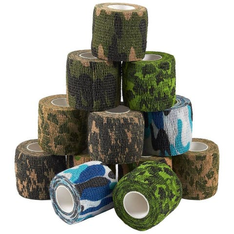 """12 Camo First Aid Medical Rolls Bandage Vet Tape Self Adherent Wrap 2"""" x 5Yds"""