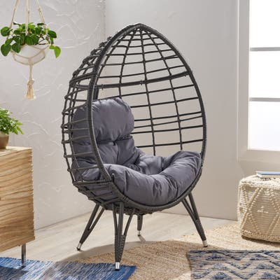 Santino Outdoor Wicker Teardrop Chair with Cushion by Christopher Knight Home