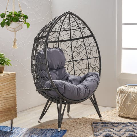 Gavilan Indoor Wicker Teardrop Chair with Cushion by Christopher Knight Home