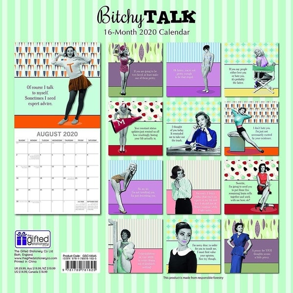 shop wall calendar month funny quotes bitchy talk
