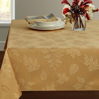 "Polyester Damask Woven Tablecloth 60"" x 84"" Gold"