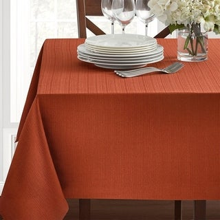 """Polyester Damask Woven Textured Fabric Round Tablecloth 70"""" Bison"""