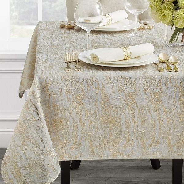 "Polyester Metallic Blend Tablecloth 60"" x 84"" Ivory-Gold"