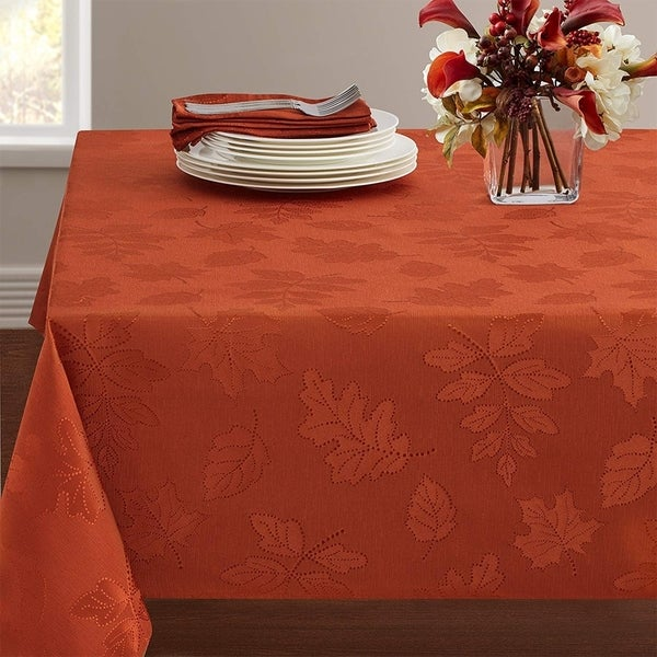 """Polyester Damask Woven Tablecloth 60"""" x 84"""" Rust"""