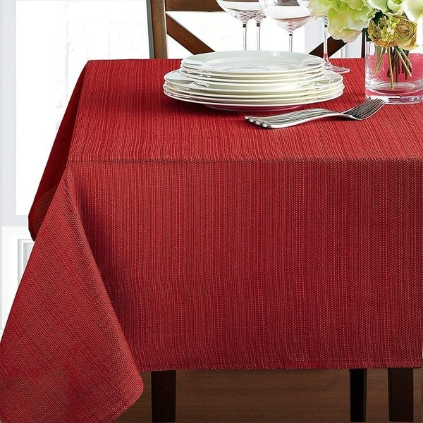 """Polyester Damask Woven Textured Fabric Tablecloth 60"""" x 120"""" Rio Red"""
