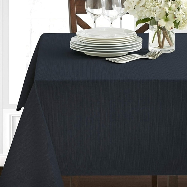 """Polyester Damask Woven Textured Fabric Tablecloth 60"""" x 84"""" Black"""