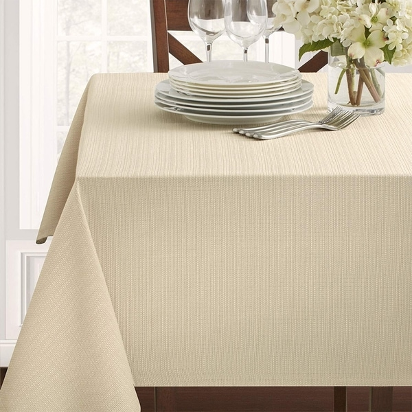 "Polyester Damask Woven Textured Fabric Tablecloth 60"" x 120"" Flax"