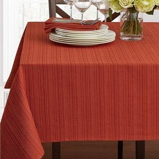 """Polyester Damask Woven Textured Fabric Tablecloth 60"""" x 140"""" Bison"""