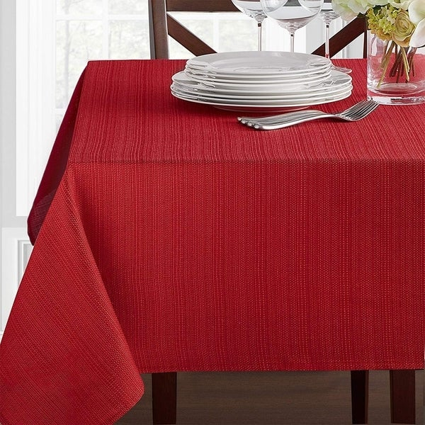 """Polyester Damask Woven Textured Fabric Tablecloth 60"""" x 120"""" Ruby"""