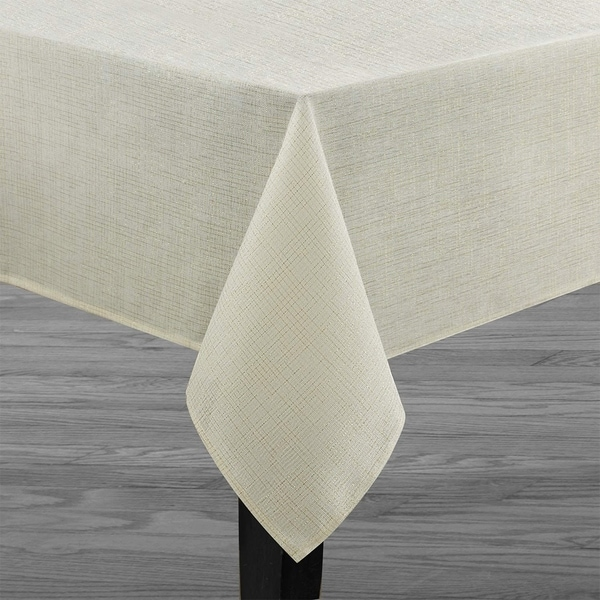 """Polyester Metallic Blend Tablecloth 70"""" Ivory-Beige"""