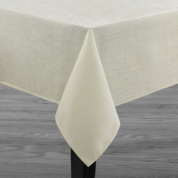 "Polyester Metallic Blend Tablecloth 60"" x 104"" Ivory-Beige"