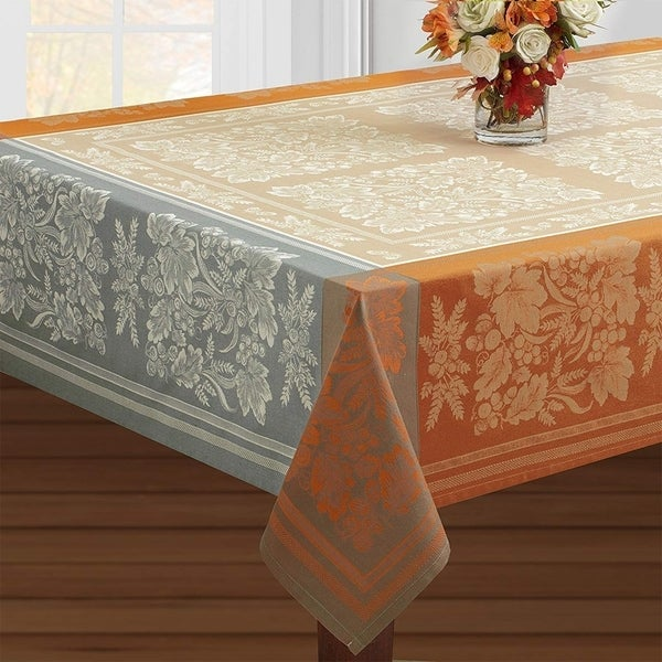 """Cotton Rich Heavy Weight Fabric Tablecloth 60"""" X 104"""" Taupe"""