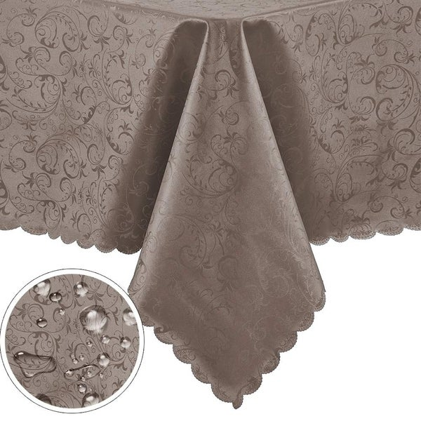"""Polyurethane Waterproof Oil-Proof Spill-Proof Round Tablecloth 60"""" x 84"""" Chocolate"""