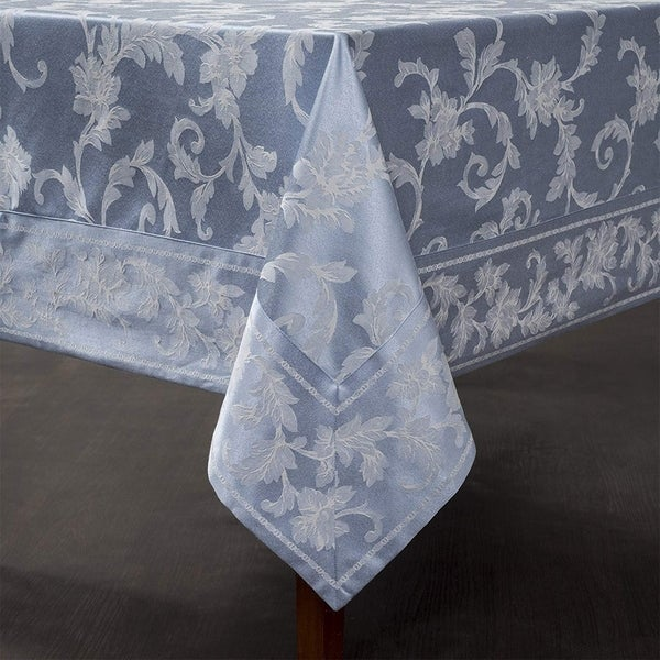 "Cotton Rich Heavy Weight Fabric Tablecloth 52"" X 70"" Light Blue"