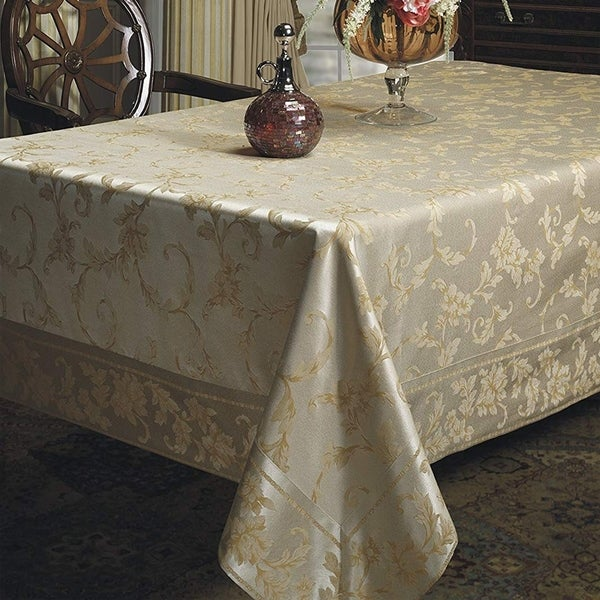 "Cotton Rich Heavy Weight Fabric Tablecloth 52"" X 70"" Silver - Gold"