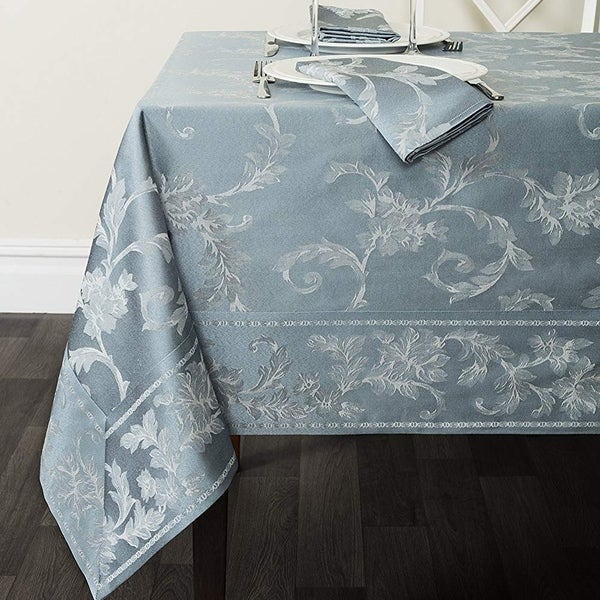 """Cotton Rich Heavy Weight Fabric Tablecloth 60"""" X 84"""" Silver - Blue"""
