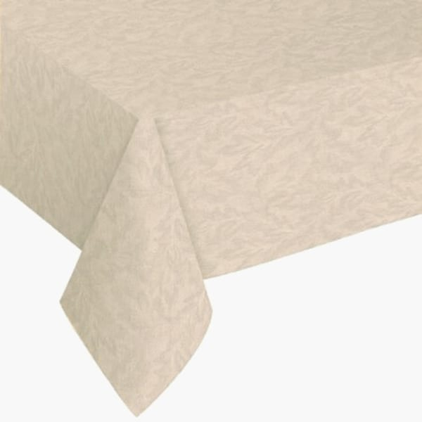 "Damask Print Flannel Backed Vinyl Tablecloth 52"" X 52"" Vanilla"