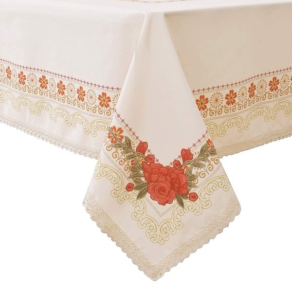 """Polyester Dining Room Rectangle Tablecloth 60"""" X 84"""" Floral55"""