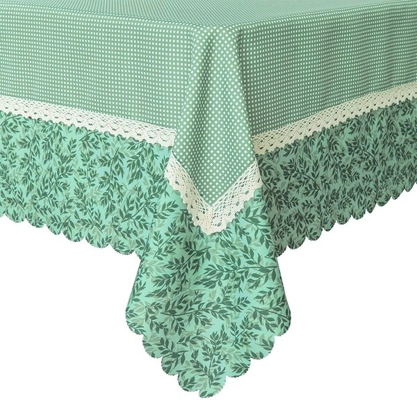 """Polyester Dining Room Rectangle Tablecloth 60"""" X 84"""" Green Mesh"""