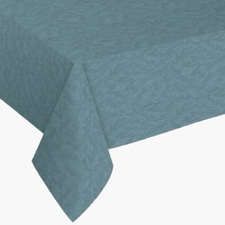 """Damask Print Flannel Backed Vinyl Round Tablecloth 70"""" Blue"""
