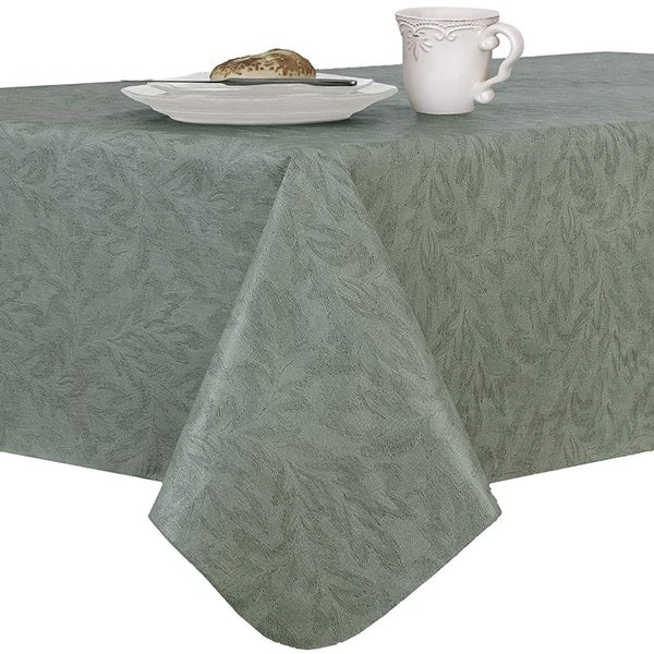 "Damask Print Flannel Backed Vinyl Round Tablecloth with Umbrella Hole and Zipper 70"" Sage"