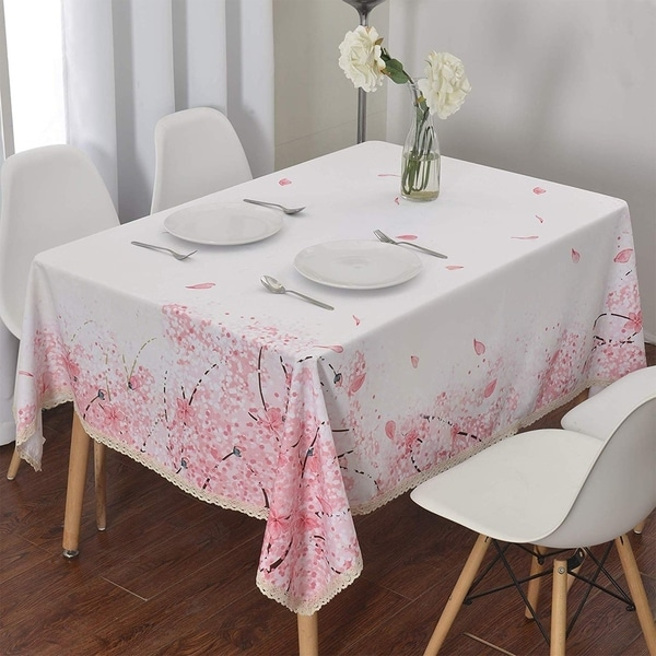 """Polyester Dining Room Rectangle Tablecloth 60"""" X 84"""" Cherry Blossom"""