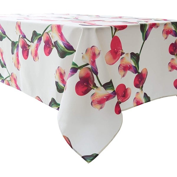 """Polyester Lace Water Resistant Rectangle Tablecloth 60"""" X 84"""" Floral6"""