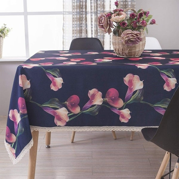 """Polyester Dining Room Rectangle Tablecloth 60"""" X 84"""" Navy Blue"""