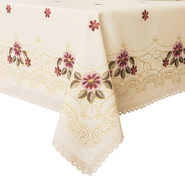 """Polyester Dining Room Rectangle Tablecloth 52"""" X 70"""" Red Floral"""