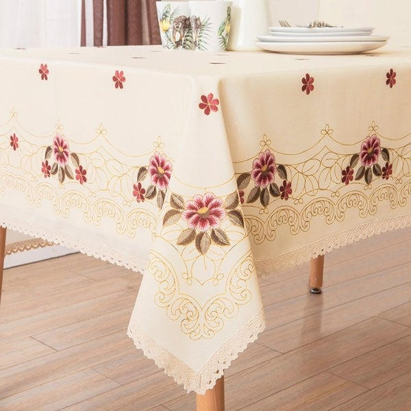 "Polyester Dining Room Square Tablecloth 52"" x 52"" Red Floral"