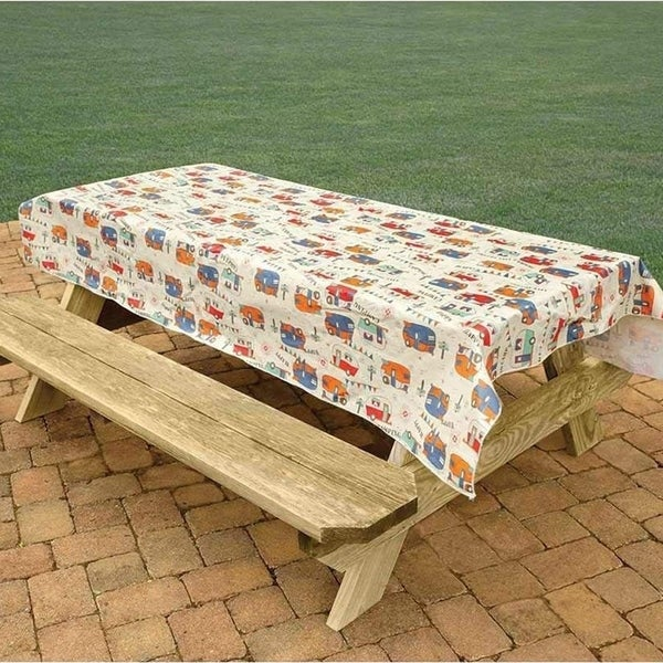 "PVC With Flannel Backing Camping Tablecloth 54"" x 82"""
