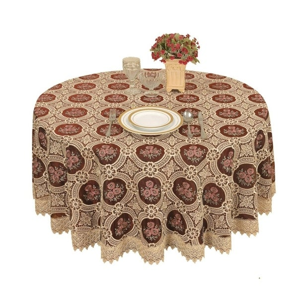 """Vintage Embroidered Burgundy Lace Round Tablecloth 36"""""""